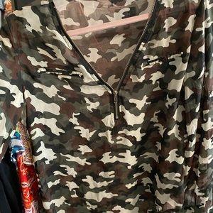 Camouflage zipper shirt